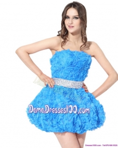 2015 Cute Short Dama Dresses with Rolling Flowers and Beading