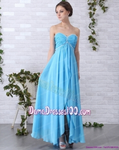 2015 Gorgeous Long Dama Dresses with Ruching and Beading