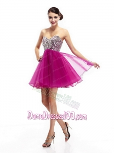 2015 Hot Pink Sweetheart Dama Dresses with Rhinestone