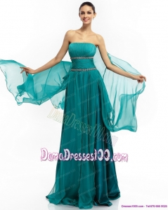 2015 Inexpensive Strapless Dama Dresses with Ruching and Beading