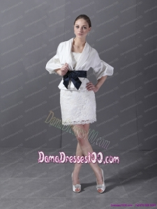 2015 Lovely Strapless White Dama Dress with Lace and Belt