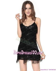 2015 New Style Black Sequins Mini Length Dama Dresses with Macrame