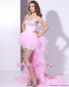 Baby Pink Ruffled One Shoulder Dama Dresses with Hand Made Flower and Beading
