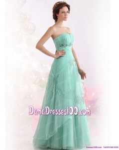 Spaghetti Straps Long Dama Dresses with Ruching and Hand Made Flowers