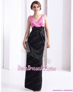 2015 Elegnat V Neck Long Dama Dress with Bowknot and Ruching