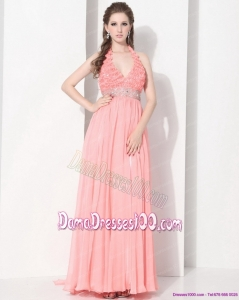 2015 Exclusive Halter Top Dama Dresses with Beading and Ruching