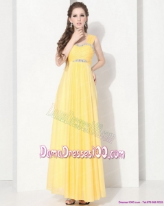 2015 Floor Length Long Dama Dresses with Ruching and Beading