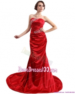 2015 Popular Ruching and Beading Dama Dresses with Brush Train