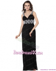 2015 Pretty Black Long Dama Dresses with White Appliques