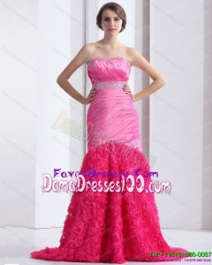2015 Wonderful Strapless Long Dama Dress with Ruching and Beading