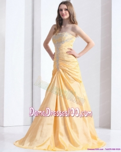 Brush Train Gold Long Dama Dresses with Ruching and Beading
