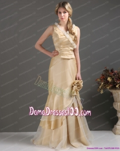 Champagne Long Dama Dresses with Ruffles and Hand Made Flower