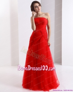 Classical Strapless Floor Length Ruching Dama Dresses in Red