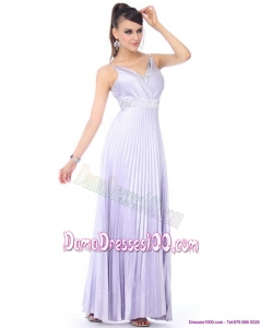 Elegant 2015 Empire V Neck Dama Dresses with Pleats and Beading