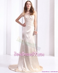 Elegant 2015 Long Dama Dress with Brush Train and Ruching