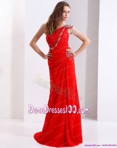 Elegant 2015 One Shoulder Red Long Dama Dress with Beadings and Brush Train