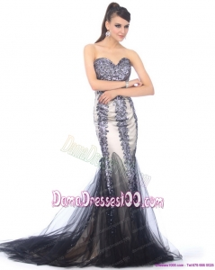 Elegant 2015 Sweetheart Mermaid Dama Dresses with Beading and Brush Train
