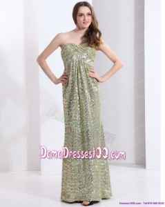 Exclusive One Shoulder Floor Length Sequined Long Dama Dress for 2015