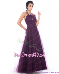 Gorgeous 2015 Halter Top Dama Dresses with Ruching and Beading
