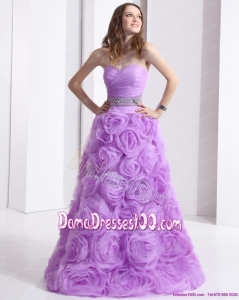 Lilac Sweetheart Long Dama Dresses with Rolling Flowers and Sequins
