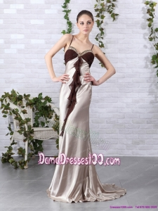 Multi Color Beading Long Dama Dresses with Backless and Brush Train