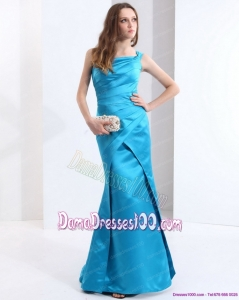 One Shoulder Baby Blue Long Dama Dresses with Brush Train