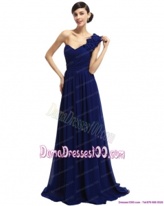 One Shoulder Ruffled Navy Blue Long Dama Dresses with Hand Made Flower