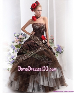 Perfect Leopard Multi Color Dama Dresses with Hand Made Flowers