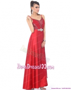 Perfect Spaghetti Straps Floor Length Beading Long Dama Dresses for 2015