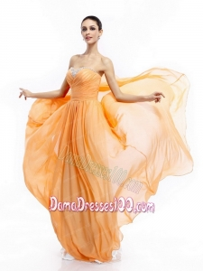 Popular Beading Sweep Train Gold Long Dama Dresses with Ruching