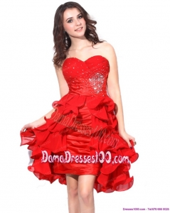 Red Ruching Sweetheart Fabulous Dama Dresses with Beading and Ruffles