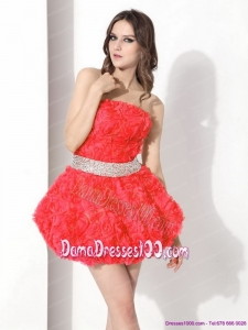 Strapless Short Fabulous Dama Dresses with Rolling Flowers and Beading