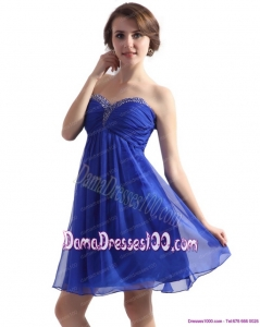 Sweetheart Ruffled Blue 2015 Fabulous Dama Dresses with Beading