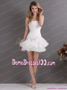 White Strapless Mini Length Fabulous Dama Dresses with Rhinestones