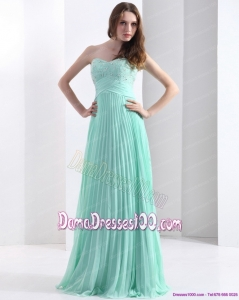2015 Brush Train Apple Green Long Dama Dress with Beading and Pleats