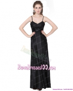 2015 Dynamic Spaghetti Straps Ruching Long Dama Dress in Black