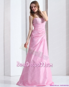 2015 Exclusive Baby Pink Sweetheart Long Dama Dress with Beading and Ruching