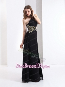 2015 Luxurious One Shoulder Beading Fabulous Dama Dresses in Black