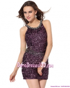 2015 Pretty Bateau Mini Length Fabulous Dama Dresses with Sequins