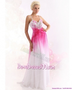 2015 Romantic Spaghetti Straps Brush Train Long Dama Dress with Paillettes