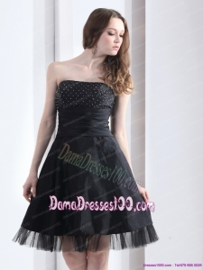 2015 Romantic Strapless Black Fabulous Dama Dresses with Ruching and Beading
