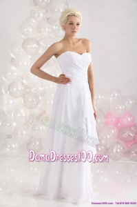 2015 Sophisticated Ruching Floor Length Long Dama Dress in White