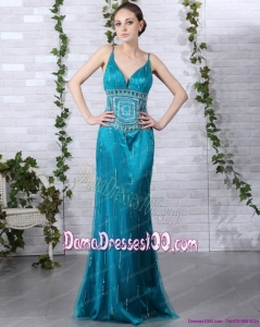 Beading Plus Size Dama Dresses with Brush Train and Spaghetti Straps