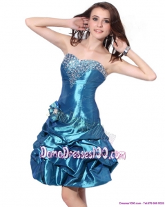 Beading Strapless Plus Size Dama Dresses with Pick Ups and Hand Made Flower