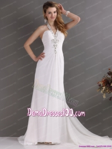 Beautiful 2015 Halter Top White Long Dama Dress with Ruching and Beading