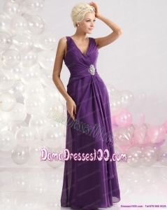 Elegant V Neck Floor Length Long Dama Dress with Beading and Ruching