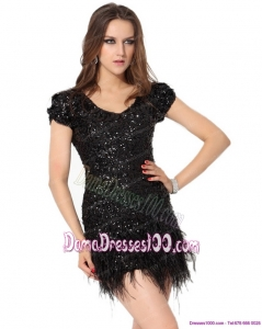 Exclusive Black Mini Length Fabulous Dama Dresses with Sequins and Macrame