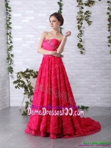 Exclusive Brush Train 2015 Long Dama Dress with Ruching and Beading