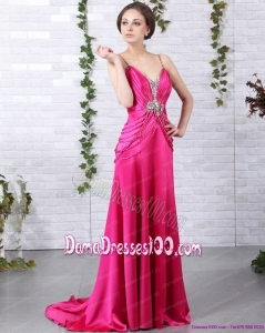 Exquisite Brush Train 2015 Fabulous Dama Dresses with Ruching and Beading