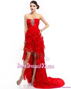 High Low Ruffled Layers Beading Red Plus Size Dama Dresses for 2015